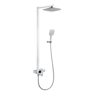 1-Function Wall Mounted Brass Rain Shower Mixer In Chrome
