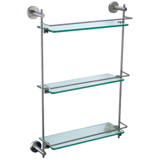 Bathroom Brass Three Layer Glass Shelf