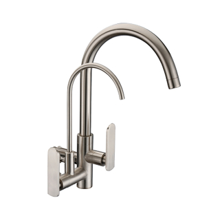 Wholesale Contemporary Deck Mounted Chrome Dual Handle Brass 3 Way Kitchen Sink Faucet