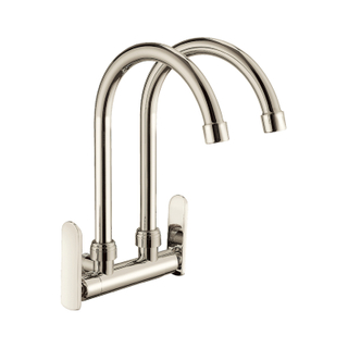High Arc Swivel Spout Brushed Nickel Two Handle Kitchen Faucet