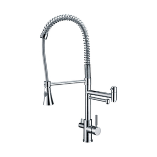 Brass And Chromed Pull Out Multi Functional Kitchen Faucet with Shower Head