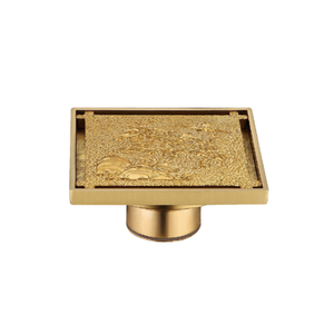 Golden Bathroom Floor Drain Cover Installation