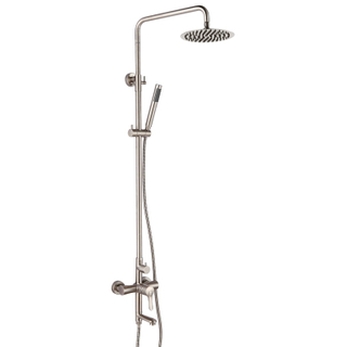 Three Functions Stainless Steel Brushed Shower Set With Sliding Bar