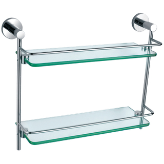 Long Chrome Double Glass Shelf For Bathroom