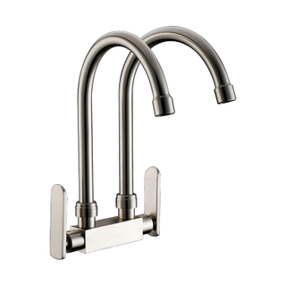 Commercial High Arc Two Handle Lever Chrome Plating Kitchen Faucet