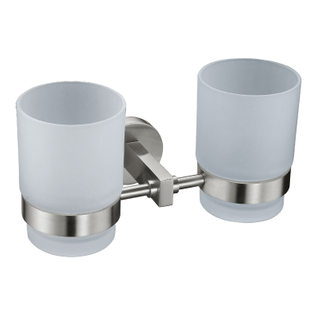 Modern Style Ceramic Double Toothbrush Holder In ORB