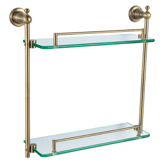 Classical Style Rose Gold Dual Glass Shelf For Bath