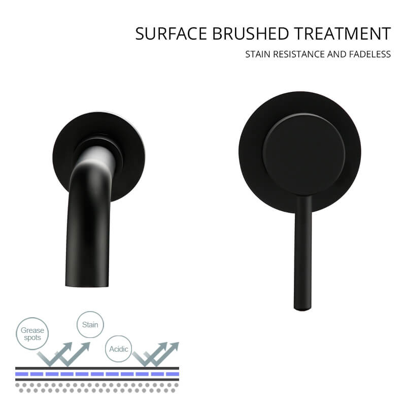 Modern Brass Wall Basin Mixer Taps | Swivel Spout Bath With Single Lever In Matt Black