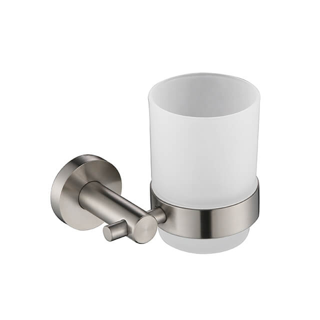 Bathroom Single Cup Holder | Wall Mounted Stainless Steel Cup Holder | Round Style Cup Holder Brush Nickel Finished