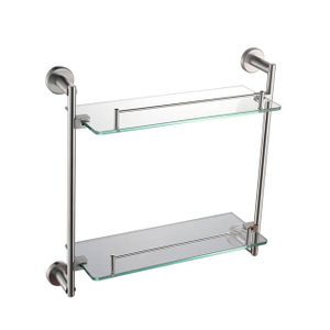 Bathroom Double Glass Shelf | Bathroom Glass Shelf Holder | Wall Mounted Stainless Steel Tempered Glass Shelf